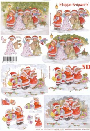Children Carol Singing Christmas Designs 3d Decoupage Sheet